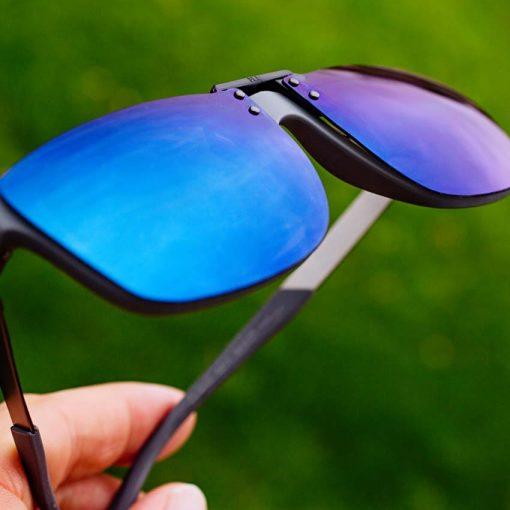 blue clipons sunglasses