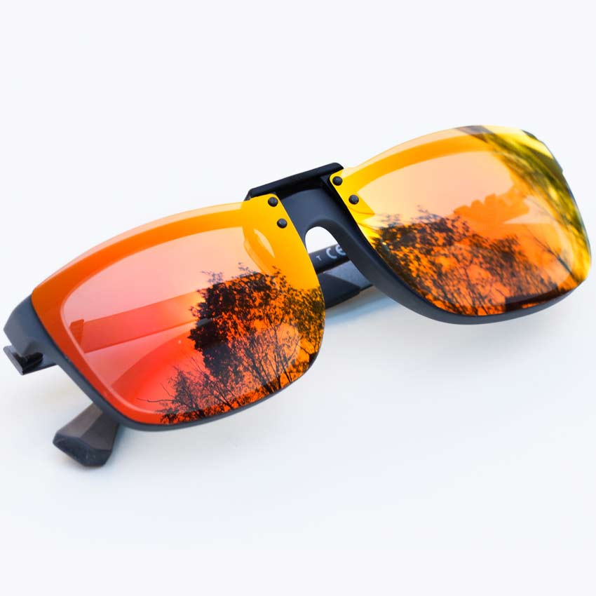 red mirrored clipon glasses