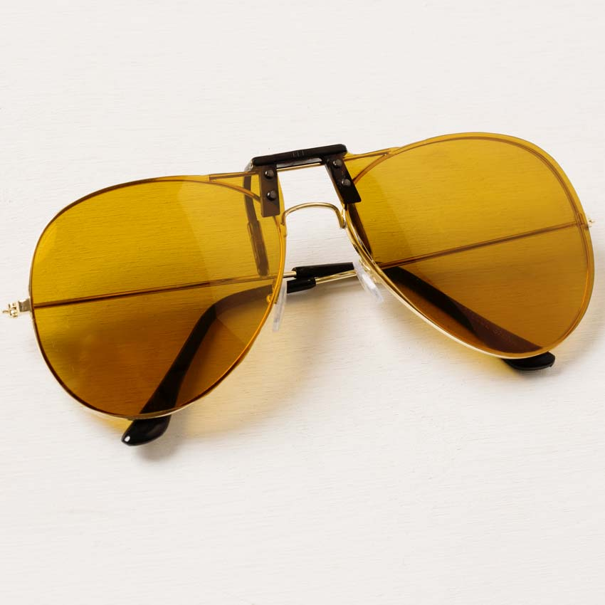 yellow clip on sunglasses